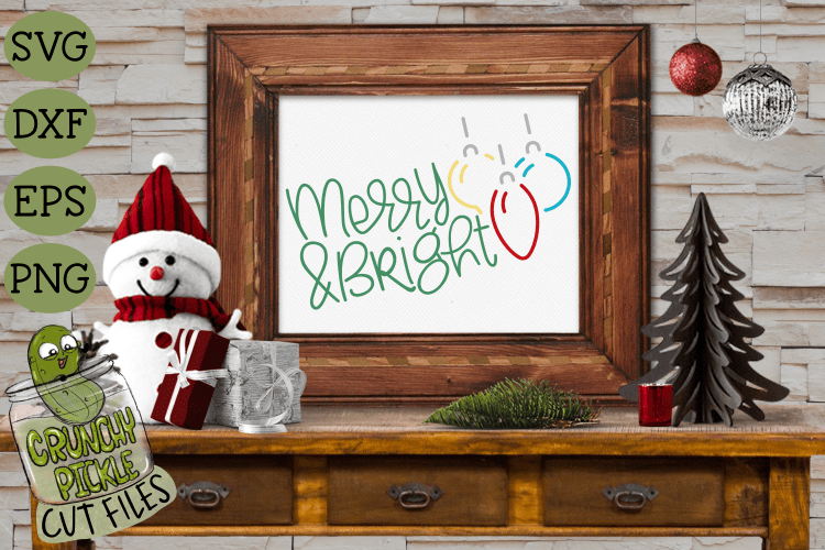 Merry & Bright Christmas Ornaments SVG