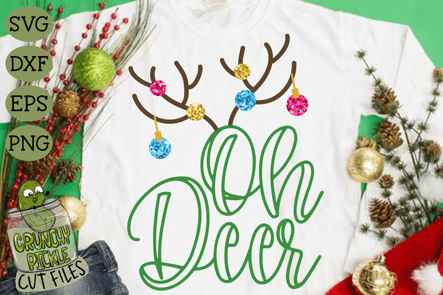 Oh Deer Christmas Svg File Crunchy Pickle Svg Cut Files