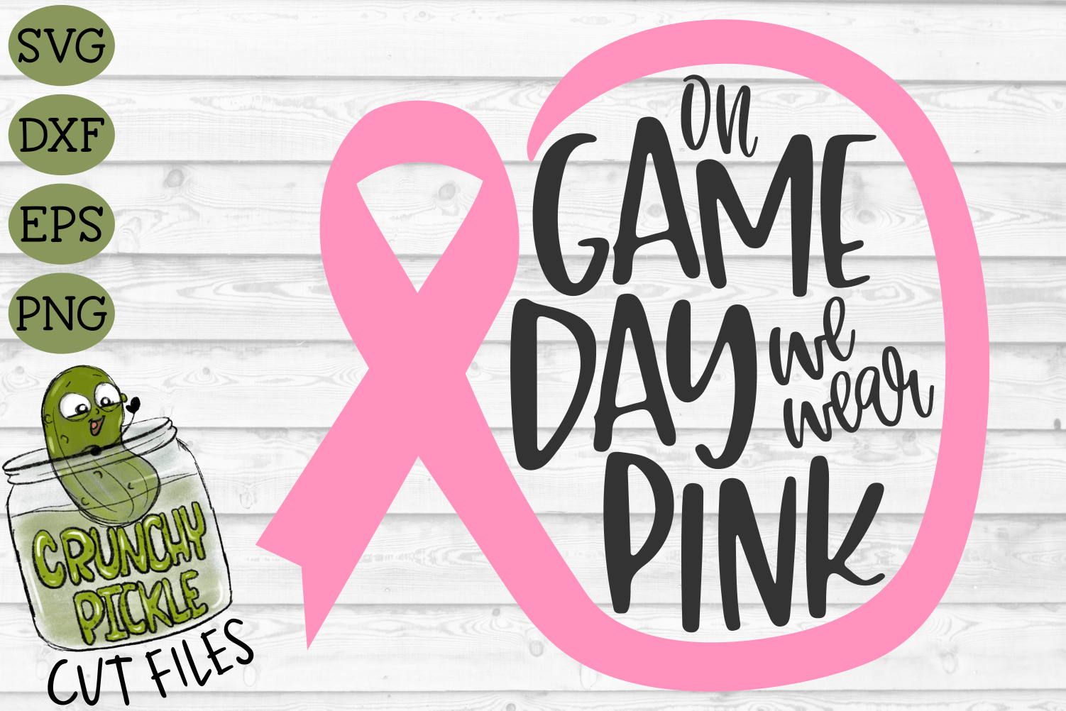 On Game Day We Wear Pink Football Breast Cancer Awareness Svg